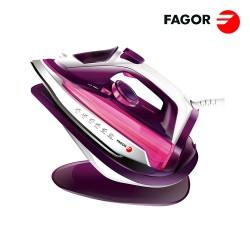 FERRO DE ENGOMAR SEM FIOS 2 EM 1 COM BASE 2600W ROSA FAGOR