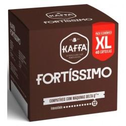 CAIXA DE 40 CÁPSULAS DE CAFÉ KAFFA FORTISSIMO DELTA Q INTENSIDADE 12 XL